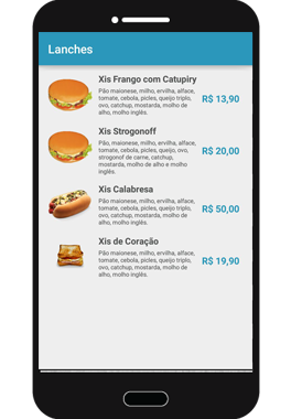 Lista de Lanches App5M Delivery
