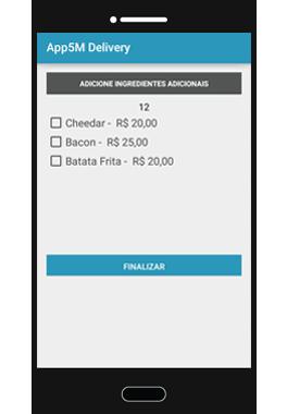 Adicionar Ingredientes Adicionais App5M Delivery
